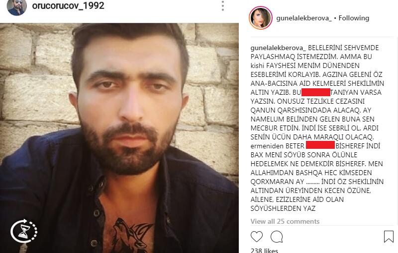 """Pişik Günel onu ölümlə hədələyən şəxsin fotosunu paylaşdı: """"Bu kişi fahişəsi…"""" – FOTO"""