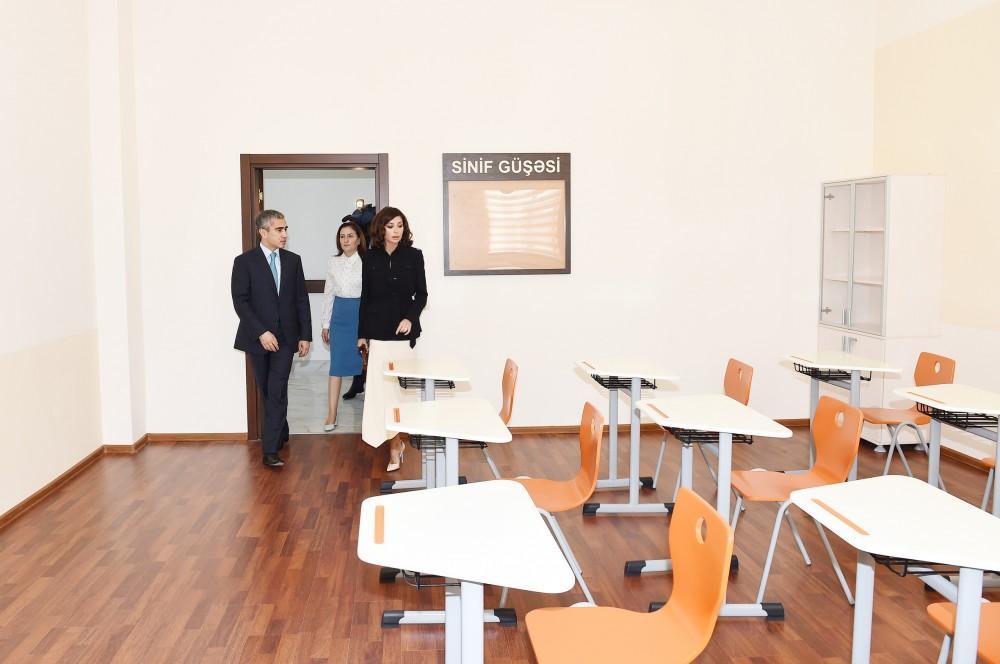 Mehriban Əliyeva 11 saylı məktəbin yeni binasının açılışında – FOTOLAR