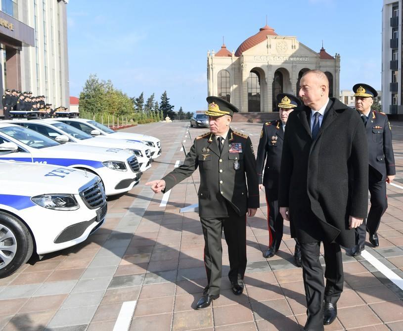 Prezident yol polislərinə verilən maşınlara baxdı – FOTOLAR