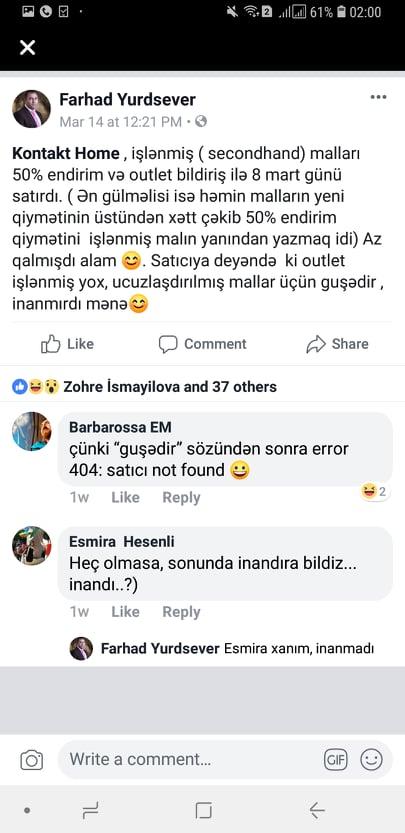 """""""Kontakt Home""""-dən yeni fırıldaq: işlənmiş mallar satışda…"""