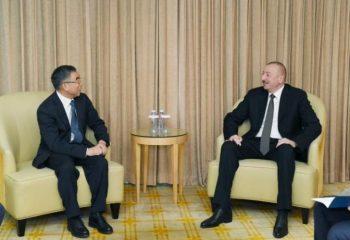 """Prezident İlham Əliyev """"Huawei"""" şirkətinin sədri ilə görüşüb"""