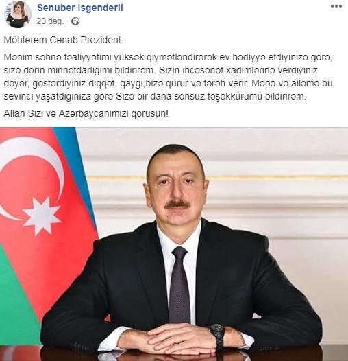 Prezident Sənubər İsgəndərliyə ev hədiyyə etdi- FOTO