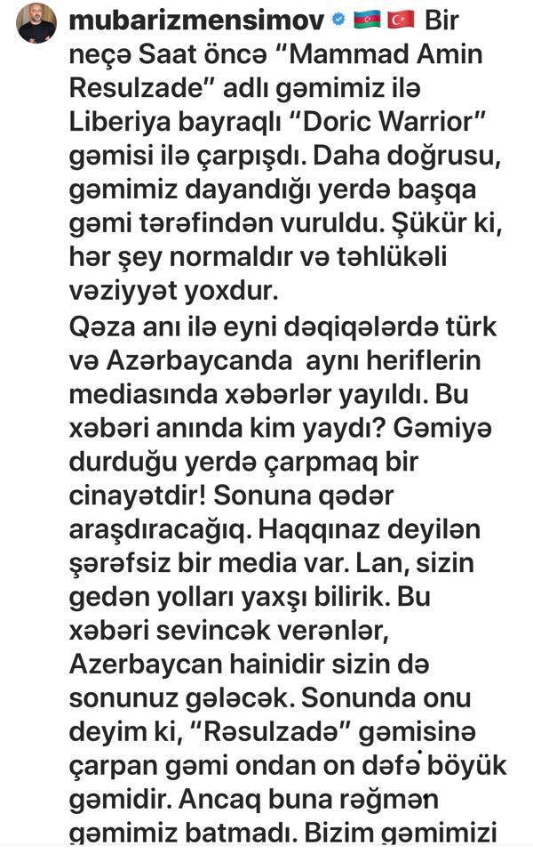 """""""Məmməd Əmin Rəsulzadə"""" gəmisi qəzaya düşdü"""