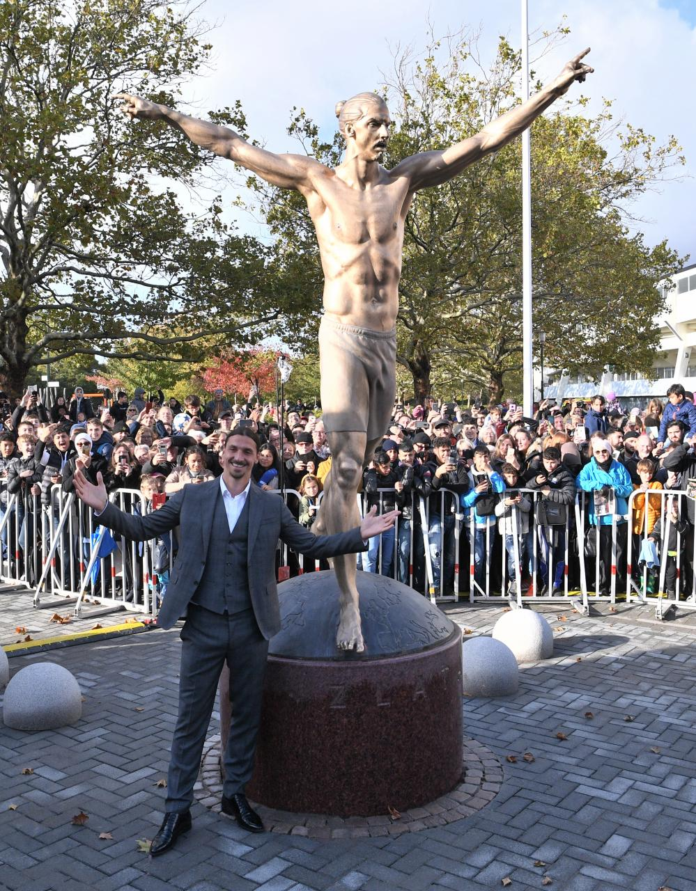The giant statue was only installed by Malmo last month as a tribute to their former player