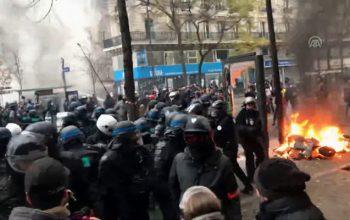 Parisdə ara qarışdı, polislə aksiyaçılar toqquşdu – Fotolar